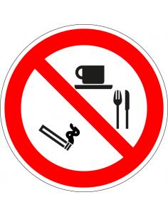 pictogram verboden roken, eten en drinken, rood wit, rond