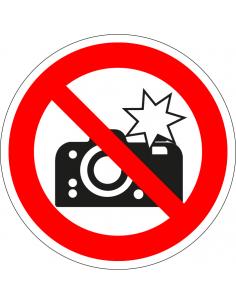 Verboden te flitsen sticker, rood wit, verbodssticker, pictogram camera