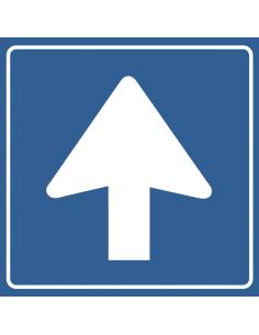 pictogram eenrichtingsverkeer, blauw wit, rond