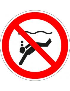 pictogram verboden diepzee te duiken, rood wit, rond, ISO 7010, P051