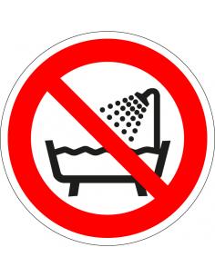 Verboden apparaat te gebruiken in een bad sticker, ISO 7010, P026, rood wit, symbool bad en douche, rond