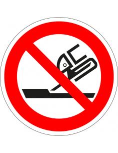 pictogram verboden slijpschijf te gebruiken, rood wit, rond, ISO 7010, P032