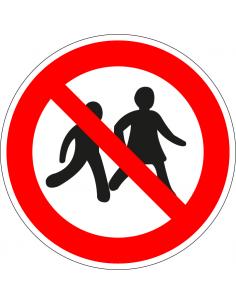 pictogram verboden voor kinderen, rood wit, rond, ISO 7010, P036