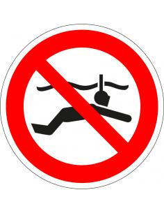 pictogram verboden te snorkelen, rood wit, rond, ISO 7010, P050