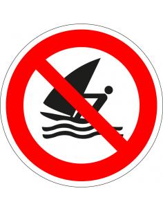 pictogram windsurfen verboden, rood wit, rond, ISO 7010, P054