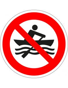 pictogram handmatig aangedreven boten verboden, rood wit, rond, ISO 7010, P055