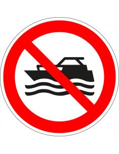 pictogram verboden voor mechanisch aangedreven boten, rood wit, rond, ISO 7010, P056