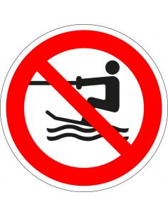 pictogram geen voortgetrokken wateractiviteiten, rood wit, rond, ISO 7010, P058