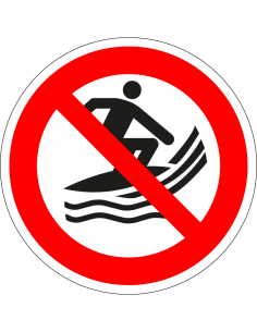 pictogram surfen verboden, rood wit, rond, ISO 7010, P059