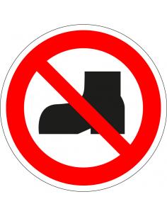 pictogram verboden voor buitenschoenen, rood wit, rond, ISO 7010, P060