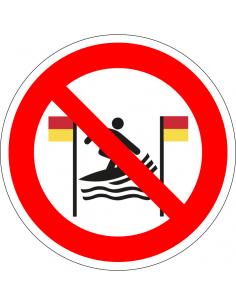 pictogram verboden te surfen tussen rode en gele vlag, rood wit, rond, ISO 7010, P064