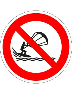 pictogram verboden te kitesurfen, rood wit, rond, ISO 7010, P065