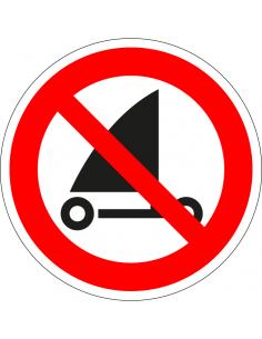 pictogram verboden te strandzeilen, rood wit, rond, ISO 7010, P067