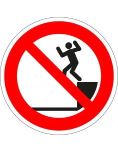 pictogram niet springen, rood wit, rond, ISO 7010, P072