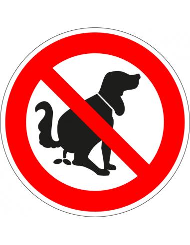 Bordje verboden te poepen voor honden, poepende hond afbeelding, rood wit, rond