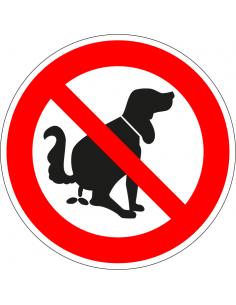 Bordje verboden te poepen voor honden, aluminium, 200 mm, poepende hond afbeelding, rood wit, rond