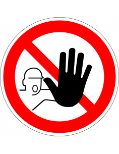 Verboden toegang voor onbevoegden bord, plexiglas,  rood wit, pictogram onbevoegden verboden, rond, ISO 7010