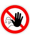 Verboden toegang voor onbevoegden bord, kunststof, rood wit, pictogram verboden toegang voor onbevoegden, rond, ISO 7010