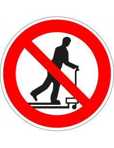 Niet met palletwagen rijden bord, kunststof, rood wit, pictogram niet met palletwagen rijden, rond