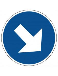 pictogram richting verplicht, blauw wit, rond