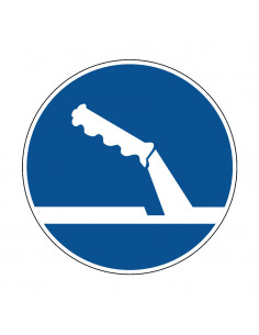 pictogram handrem gebruiken, blauw wit, rond