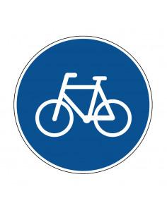pictogram fietspad verplicht, blauw wit, rond