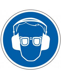 Bril en oorkap verplicht bord, kunststof, blauw wit, pictogram bril en oorkap, rond