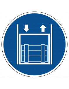 pictogram goederenlift gebruiken, blauw wit, rond