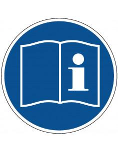 pictogram handleiding lezen, blauw wit, rond