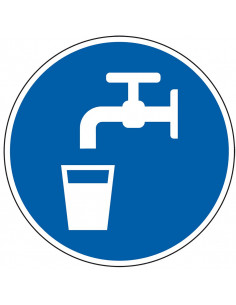 pictogram drinkwater, blauw wit, rond