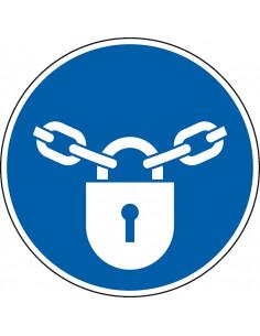 pictogram gesloten houden, blauw wit, rond