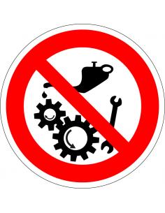 Smeren of reinigen verboden als machine aanstaat sticker, vetspuit, draaiende rollen en sleutel, rood wit, rond