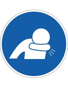 pictogram in elleboog niezen, blauw wit, rond