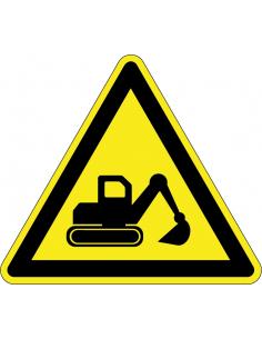 Waarschuwingssticker graafmachine, afbeelding graafmachine, geel zwart, driehoek