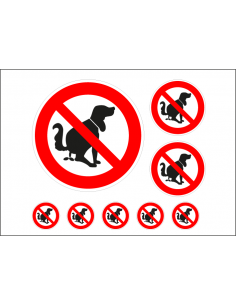 Verboden voor hondenpoep stickers, 8 per vel, rood wit, sigaret pictogram, rond