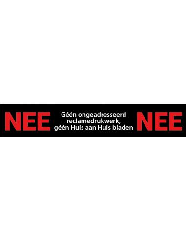 Nee nee sticker brievenbus, met tekst nee nee, zwart rood wit, rechthoekig