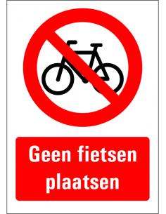 Geen fietsen plaatsen bord met tekst, fiets pictogram, a-formaten, rechthoek, rood wit