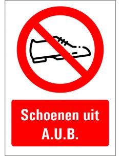 Schoenen uit aub sticker met tekst, rechthoek, schoenen symbool, rood wit