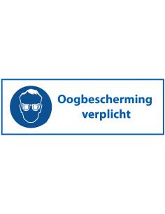 Oogbescherming verplicht sticker met tekst, blauw wit, rechthoek, Nederlandse tekst