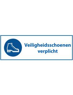 Veiligheidsschoenen verplicht bord met tekst, kunststof, blauw wit, rechthoek, Nederlandse tekst