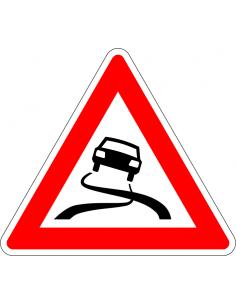 Slipgevaar sticker, J20, rood wit, driehoek, slippende auto symbool