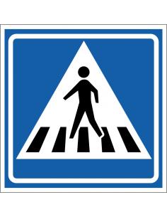Zebrapad bord, kunststof, L2, blauw wit, vierkant, zebrapad symbool