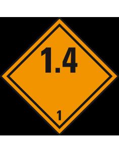 ADR klasse 1.4 sticker explosieve stoffen, oranje zwart, ruitvormig, 1.4 tekst