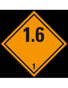 ADR klasse 1.6 sticker explosieve stoffen, oranje zwart, ruitvormig, 1.6 tekst