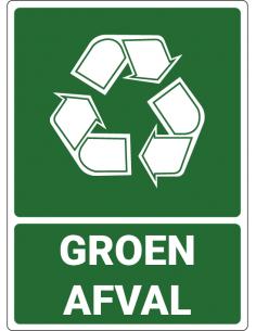 Afvalsticker groen afval, groen wit, om groen afval aan te geven