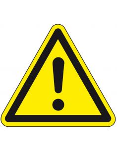 Algemene waarschuwingssticker, ISO 7010, W001, geel zwart, driehoek, algemeen waarschuwingsteken, uitroepteken