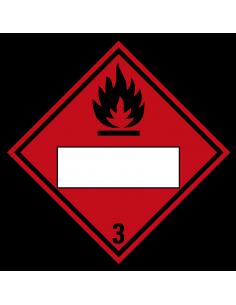 Beschrijfbare ADR klasse 3 sticker ontvlambare vloeistoffen, ruit, rood zwart, ontvlambare vloeistoffen pictogram