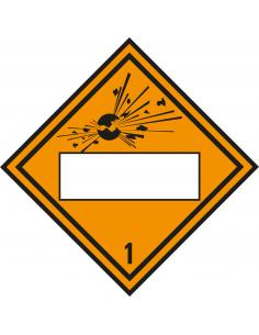 Beschrijfbare ADR klasse 1 sticker explosieve stoffen, oranje zwart, ruitvormig, symbool explosieve stoffen