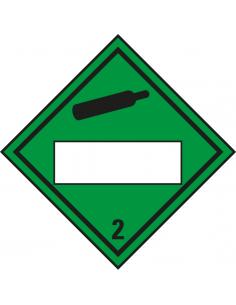 Beschrijfbare ADR klasse 2.2 sticker niet brandbaar gas, groen, ruitvormig