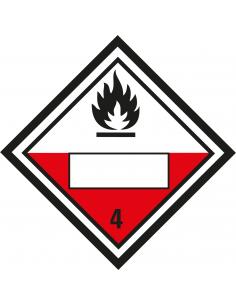 Beschrijfbare ADR klasse 4.2 sticker zelfontbrandende stoffen, ruit, rood wit zwart, vlam pictogram
